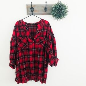 Free People Red Plaid Oversized Tunic Top S